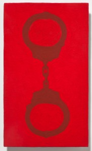 <strong><em>Fall 1</em>, 2010, oil enamel on powder coated steel, 10x6 inches