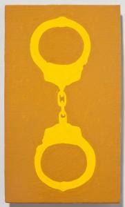 <strong><em>Fall 1</em>, 2010, enamel on powder coated steel, 10x6 inches
