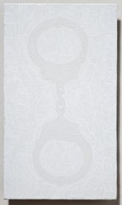 <strong><em>Fall 2</em>, 2010, oil enamel on powder coated steel, 10x6 inches