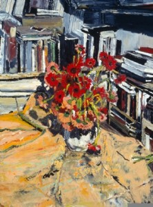 Books and Gerbera Daisies, 1997, oil on canvas, 40 x 30 inches