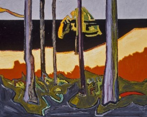 Trees and Ocean, 1999, oil on canvas, 48 x 60 inches