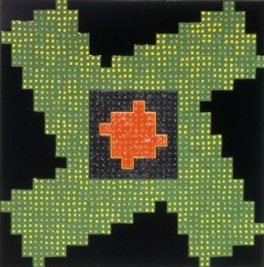 Mars, 1993, epoxy and oil on riveted aluminum, 24 x 24 inches.