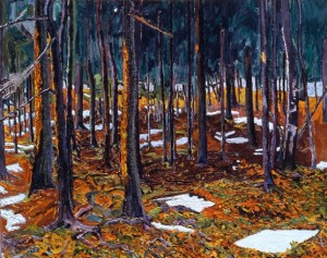 Patches of Snow in the Woods, Looking Toward the Water, Maine; 1999; oil on canvas; 24 x 30 inches