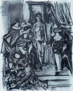 My model and Mannequins, 1991, charcoal, 42 x 34 inches.
