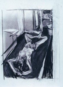 Upside Down, 1992, charcoal on paper, 30 x 22 inches.