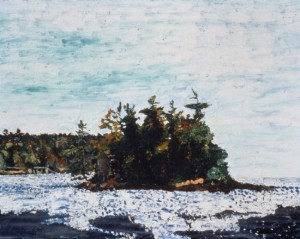 Island in Johns Bay, Maine, 1996, oil on canvas, 24 x 30 inches