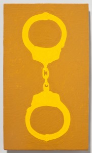 <strong><em>Fall 1</em>, 2010, enamel on powder coated steel, 10x6 inches