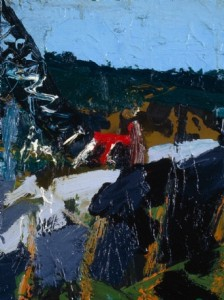 Construction at Churchill Dam, Allagash River; 1997; oil on canvas; 16 x 12 inches